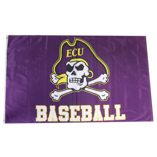 3 x 5 Purple Jolly Roger Baseball Flag