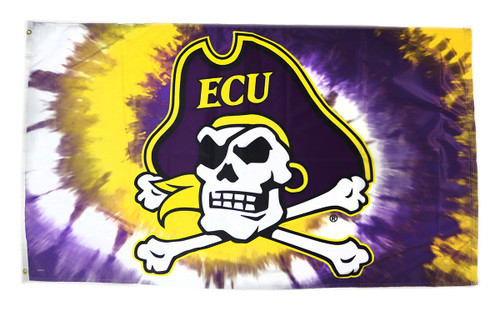 3 x 5 Purple and Gold Tie Dye Jolly Roger Flag