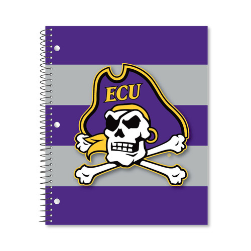 Notebook 3 Subject Jolly Roger Purple and Gray Stripe