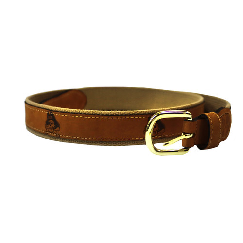 Leather Canvas Jolly Roger Embossed Belt