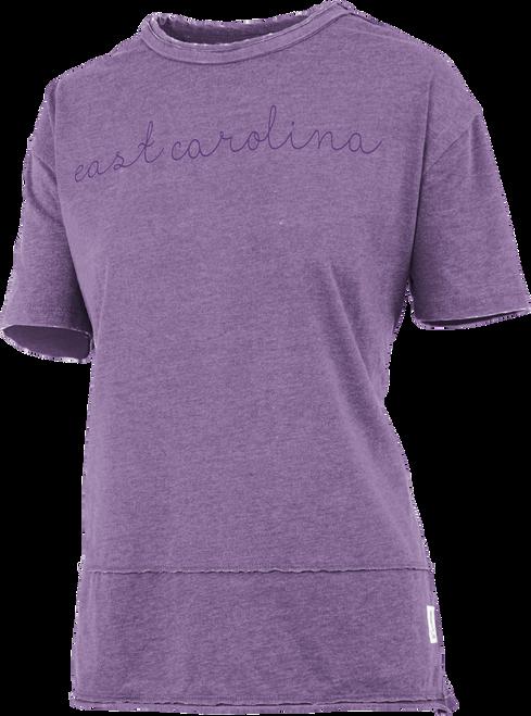 Purple East Carolina Raw Stitch Tee