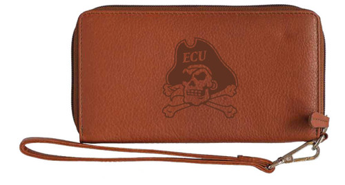 Brown Leather Wristlet Jolly Roger Embossed