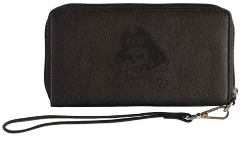 Black Leather Wristlet Jolly Roger Embossed