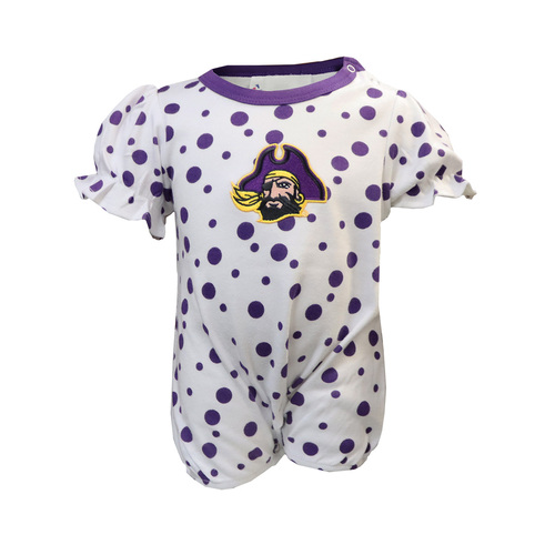 White with Purple Polka Dots ECU Romper