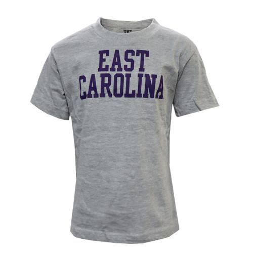 Grey East Carolina Stack Youth Tee
