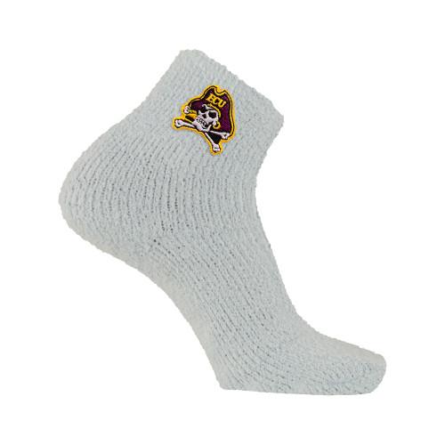 White Fuzzy Sock Jolly Roger
