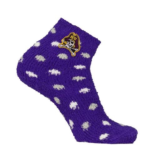 Purple Polka Dot Jolly Roger Fuzzy Socks