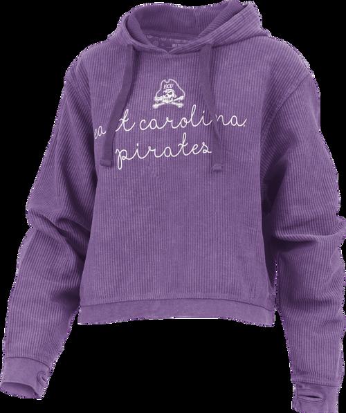 Purple ECU Script Crop Hoodie