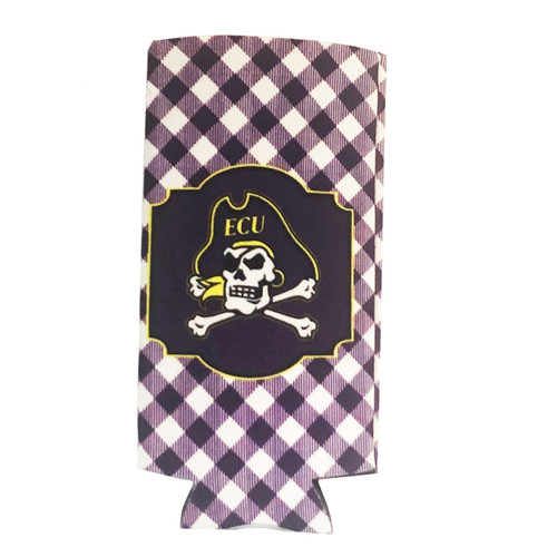 Purple Gingham Koozie With Jolly Roger