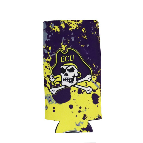 Purple and Gold Splatter Koozie With Jolly Roger