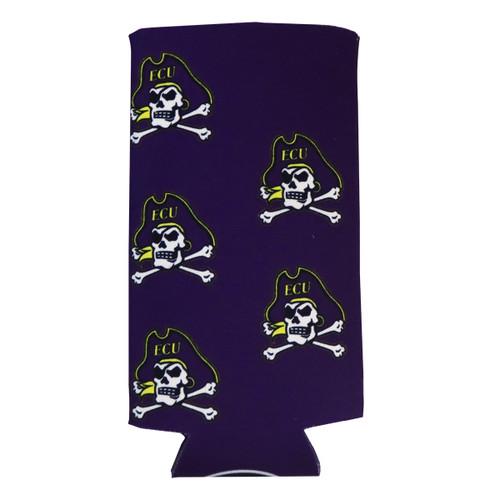 Purple Jolly Roger Slim Can Koozie