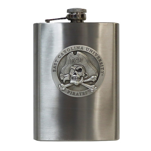Stainless ECU Jolly Roger Flask