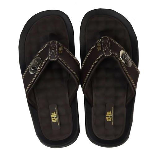 Brown Leather Jolly Roger Flip Flops
