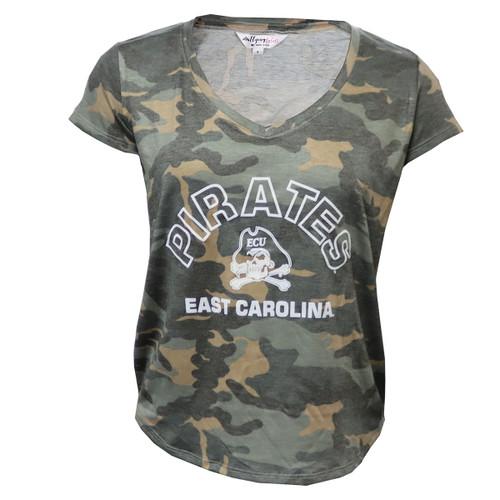 Camo Ladies East Carolina Jolly Roger V Neck