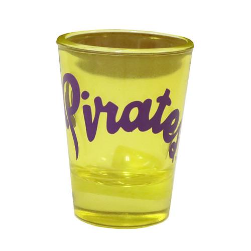 Yellow Shot Glass Purple Pirates Script