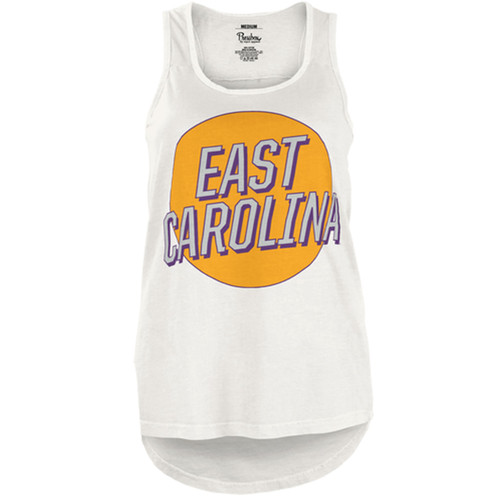 Ladies White Retro East Carolina Tank