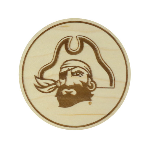 4 Pack Pirate Head Maple Coaster