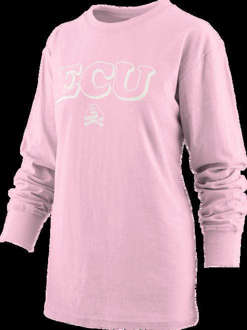 Ladies Long Sleeve Pink ECU Tee