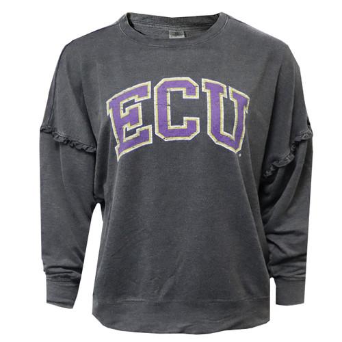 Grey Acid Wash ECU Ruffled Pullover