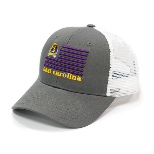Grey Jolly Roger Flag Trucker Cap