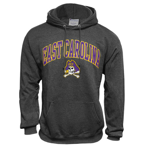 Charcoal Distressed East Carolina Arch Hoodie