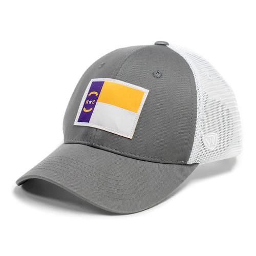 CAP WHITE/ASHE GREY TRUCKER PUR GOLD NCFLAG
