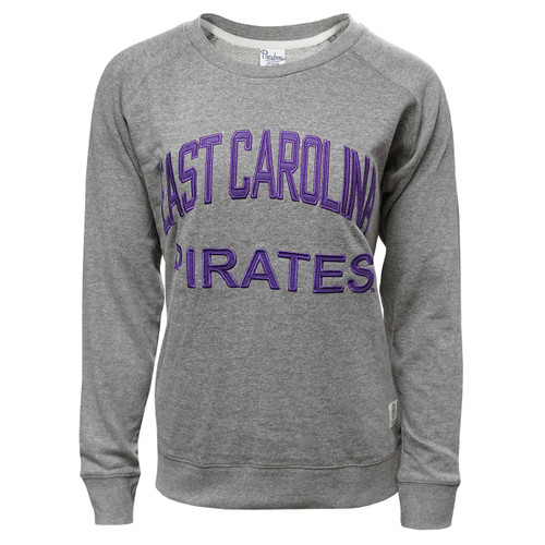 Grey East Carolina Pirates Arched Terry Crew