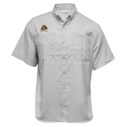 Grey Tamiami Jolly Roger Short Sleeve Button Down Shirt
