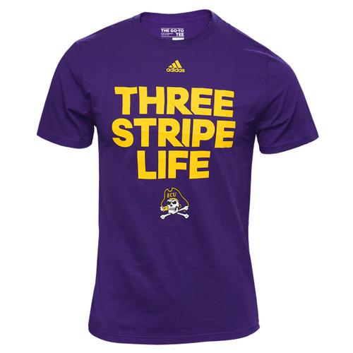 Purple Three Stripe Life Jolly Roger Tee