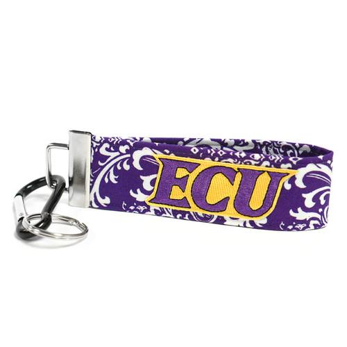 Purple Floral ECU Wristlet Keychain