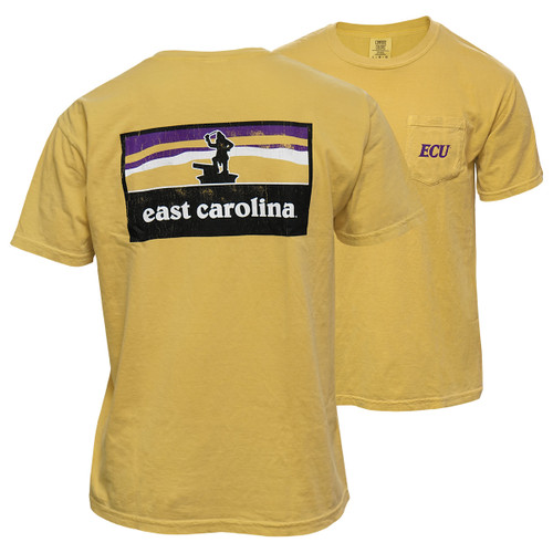 Mustard East Carolina Pirate Statue Sunset Tee
