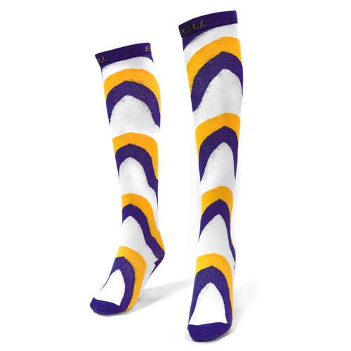 Wavy Purple Gold & White Knee High Sock Design