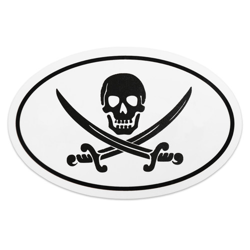 "Skull & Crossed Swords Oval 6"" Decal"