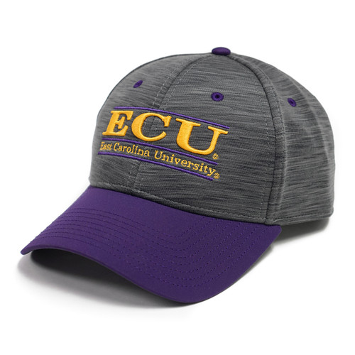 Heather Charcoal ECU Bar Cap with Purple Bill