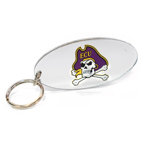 Mirrored Oval Jolly Roger Keychain