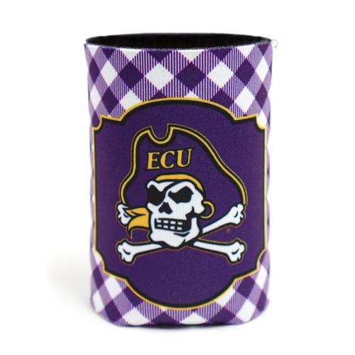 Purple Gingham Jolly Roger Can Koozie