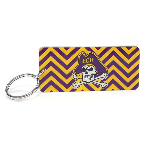 Purple & Gold Jolly Roger Chevron Keychain