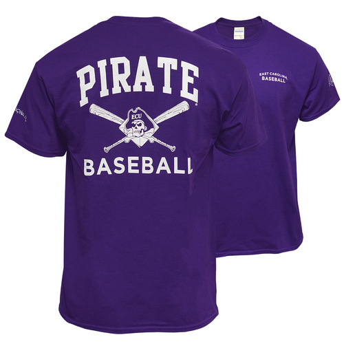 Purple Pirates Baseball Tee with Crossed Bats
