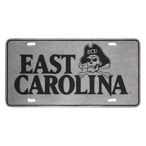 East Carolina & Jolly Roger Pewter License Plate