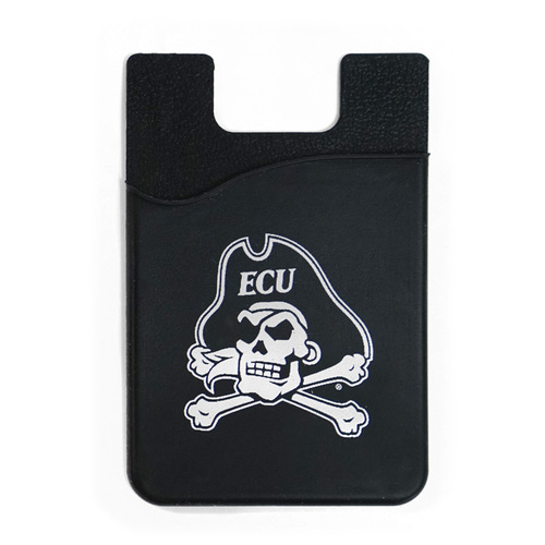 Black Silicone Jolly Roger Cell Phone Card Holder