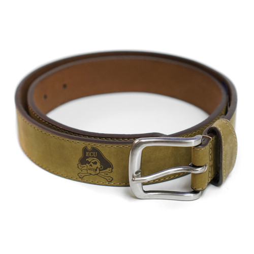 Tan Brown Leather Jolly Roger Belt