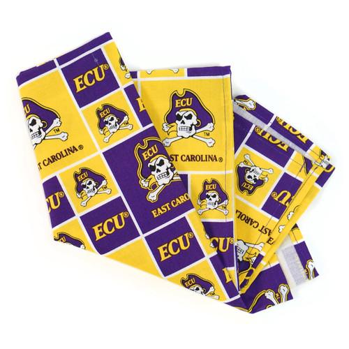 Purple & Gold Patchwork ECU Bandana