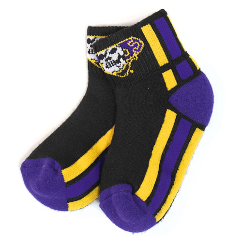 Black Youth Socks with Purple & Gold Pirate Nation