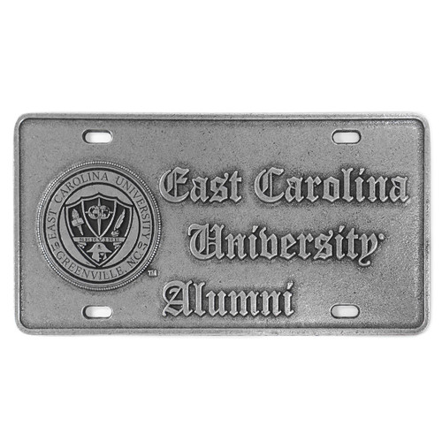 Pewter Old English ECU Alumni & Seal License Plate
