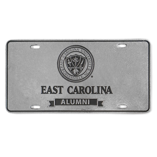Pewter ECU Seal & Alumni Ribbon License Plate