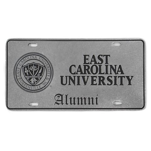 Pewter East Carolina University Alumni License Plate with Seal