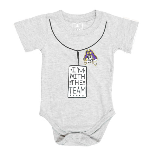 Grey I'm With The Team Jolly Roger Onesie