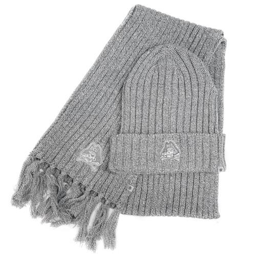 Knit Grey Scarf & Beanie Jolly Roger Combo