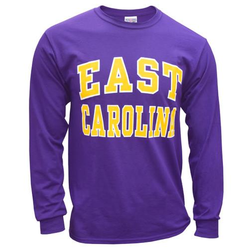Purple Long Sleeve East Carolina Arch Tee