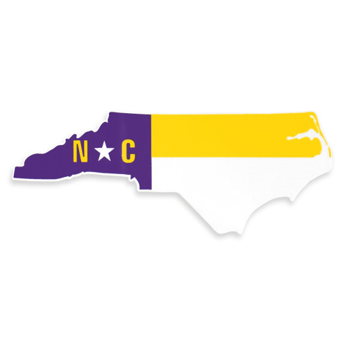 Purple & Gold North Carolina Flag Outline Decal